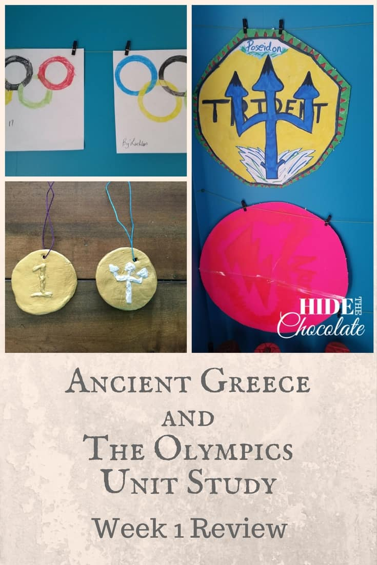 Jumping straight back into school after a break can be a bit stressful. The routines have to be reestablished. The focus has to be shifted. And, the attitudes have to be adjusted.  This year I wanted to ease into our school year, and a Unit Study sounded like a fun way to get started.  So, last week we started our Ancient Greece and The Olympics Unit Study week 1.