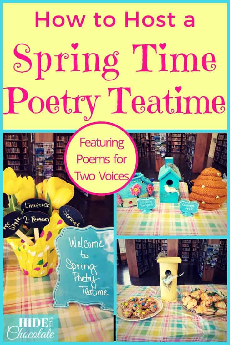 Spring is full of beauty, blooms, and in April, poetry. We\'re celebrating National Poetry Month with a Spring Time Poetry Teatime and poems for two voices. #homeschool