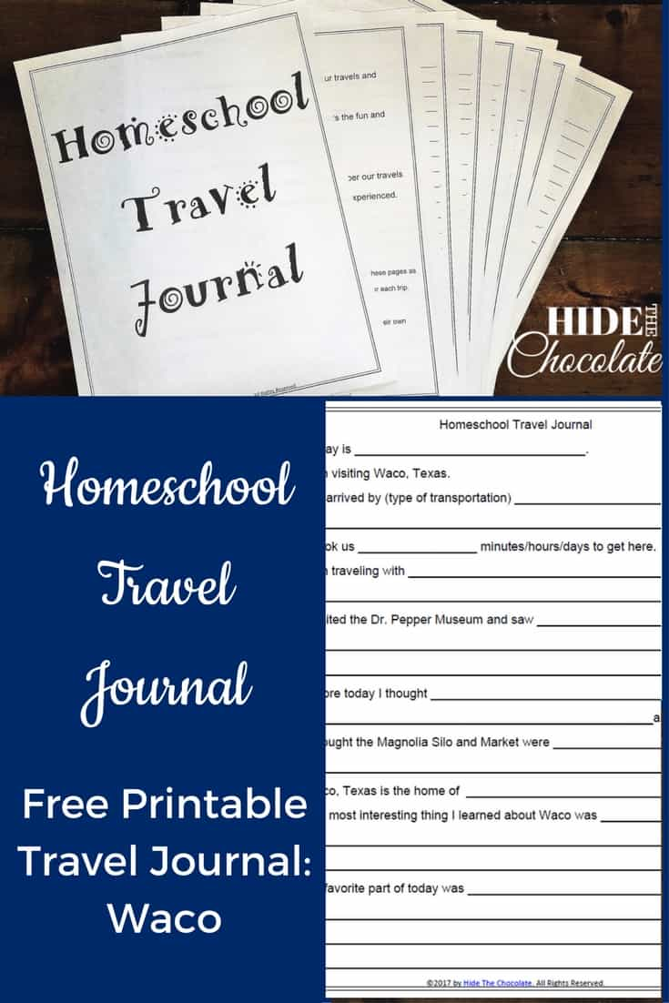 photo regarding Travel Journal Printable titled Homeschool Push Magazine Printable - Waco ~ Conceal The Chocolate