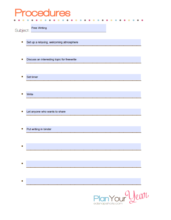 Free Write Procedures screenshot