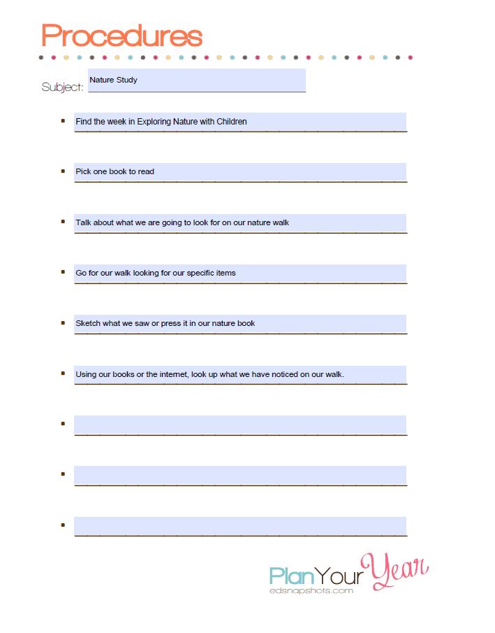 Nature Study Procedures Screenshot