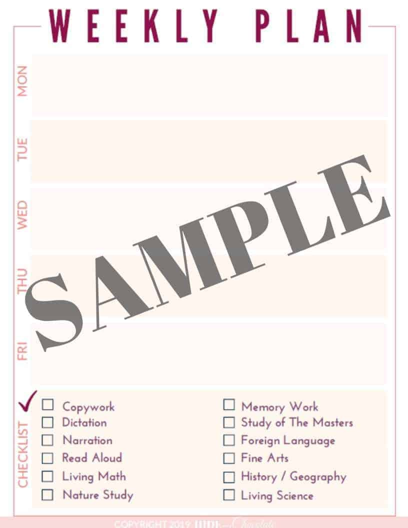 Relaxed Charlotte Mason Homeschool Planner Sample