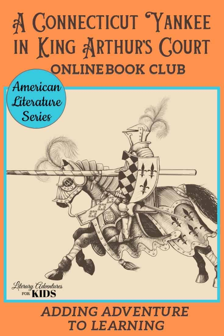 In this course, A Connecticut Yankee in King Arthur\'s Court Online Book Club, we will read through the book by Mark Twain. We will go on rabbit trails of discovery into history, science & more; find ways to learn by experiencing parts of the book through hands-on activities, have a party school to celebrate this classic story. This online literary guide has everything you need to study the book. It is perfect for a month of high school level literature. #onlinebookclub #la4k