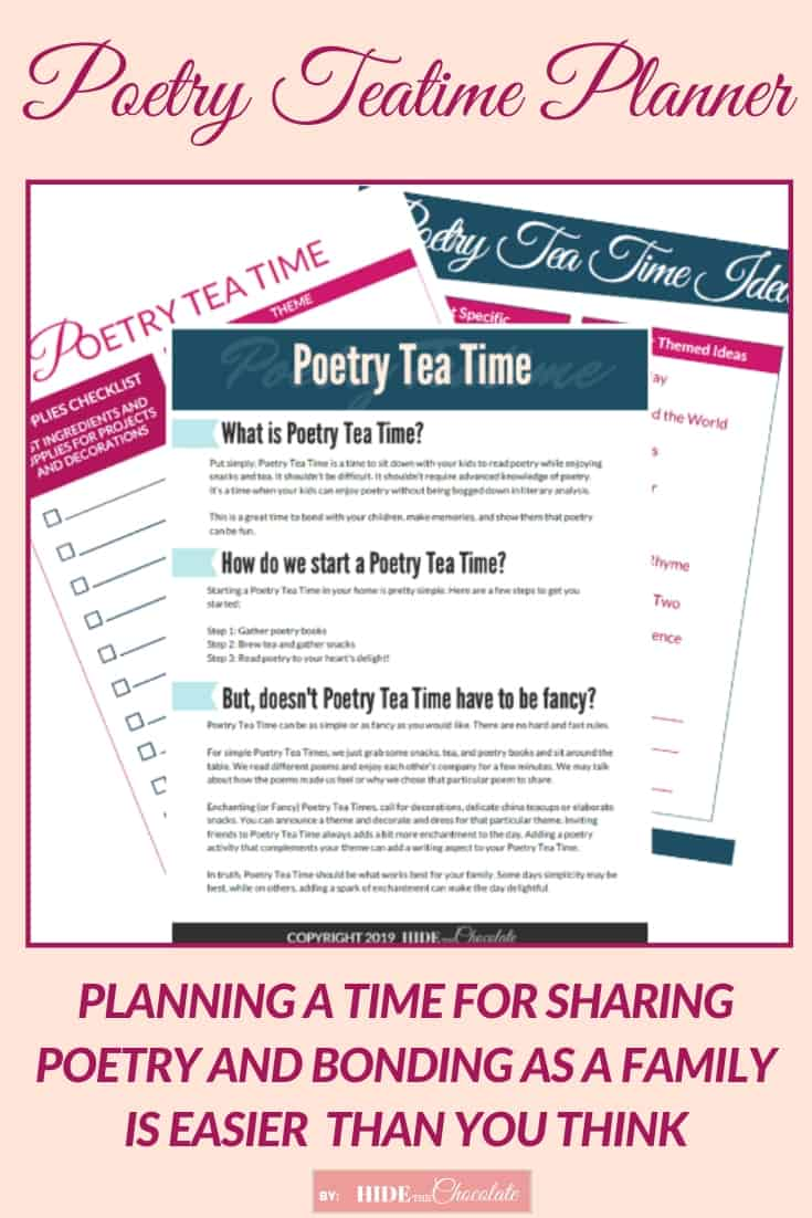 Our Poetry Teatime Planner helps you to plan a time for sharing poetry, making memories, and bonding as a family in an easy step-by-step guide.