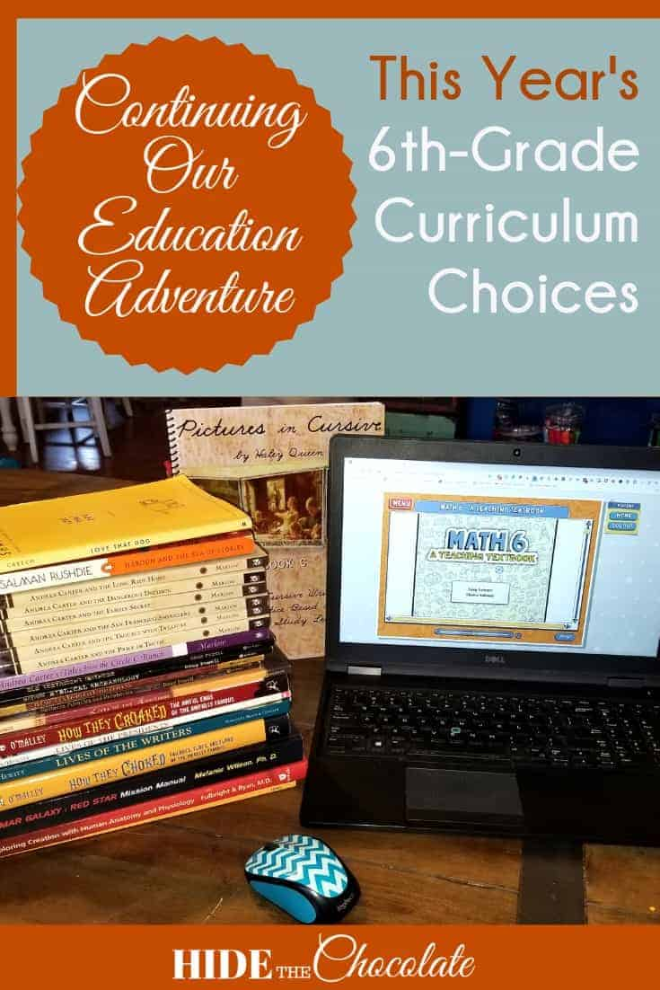 This Year's 6th Grade Homeschool Curriculum Choices