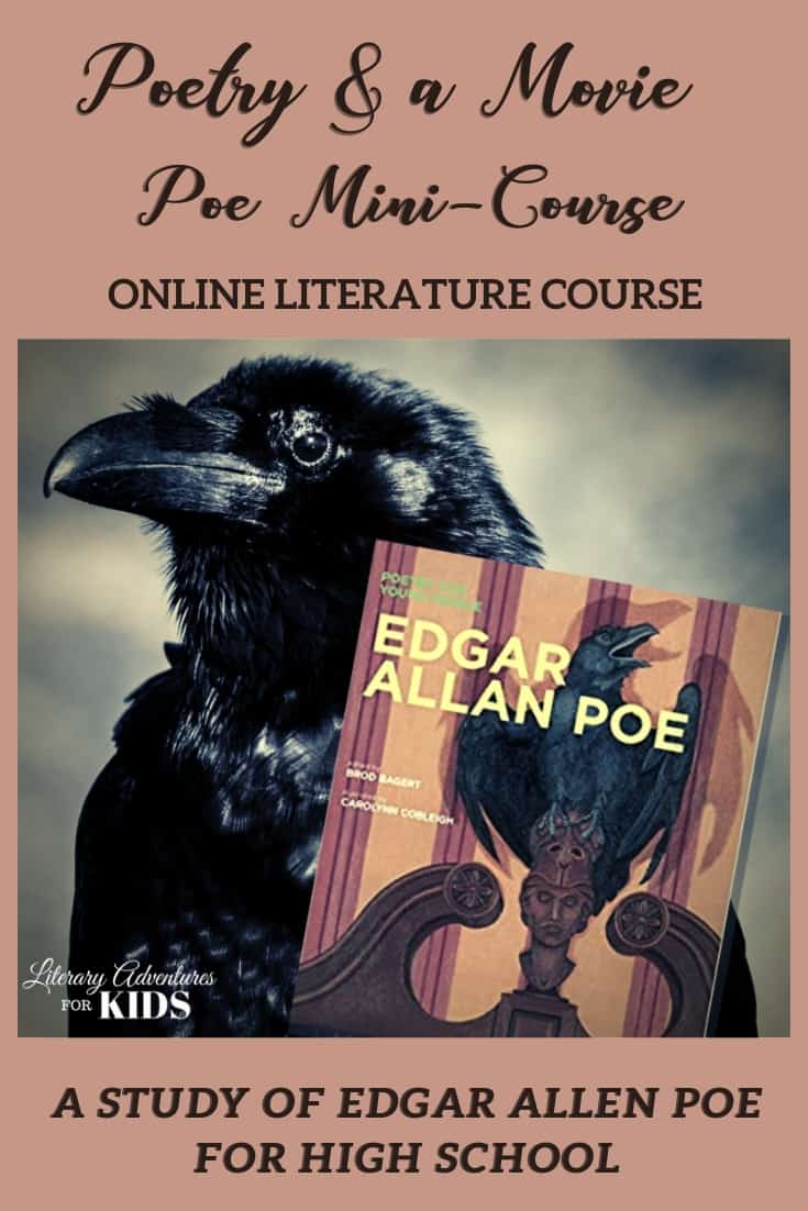 Poetry and a Movie ~ Poe Mini-Course makes the Master Poet appealing and relevant to the high school crowd through the effective use of technology. Your teen will not only be learning about Poe and his poetry, they will also be learning about literary elements and how classical material is still utilized in our modern culture. #homeschool #highschoolliterature #homeschoolhighschool
