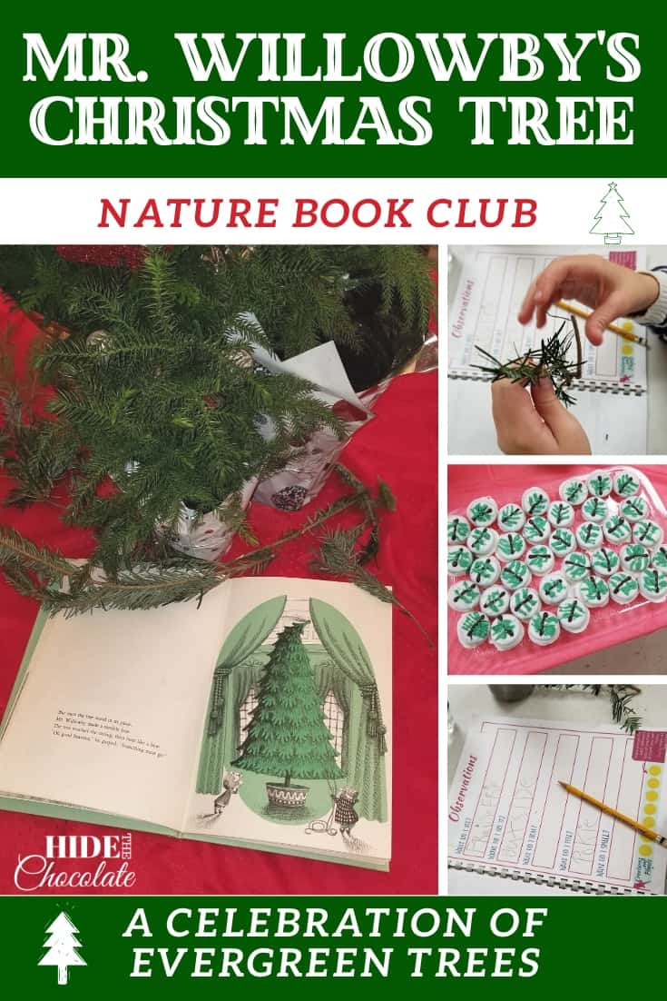 Christmas trees, deciduous trees, evergreen trees, cookie trees! We had fun learning about evergreen trees in our Mr. Willowby\'s Christmas Tree Nature Book Club this month! #onlinebookclub #la4k #ihsnet #naturebookclub